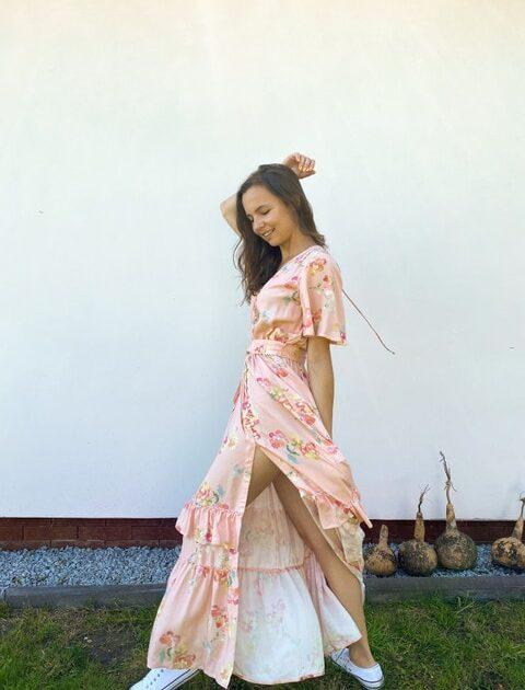 Długa sukienka w róże Rose