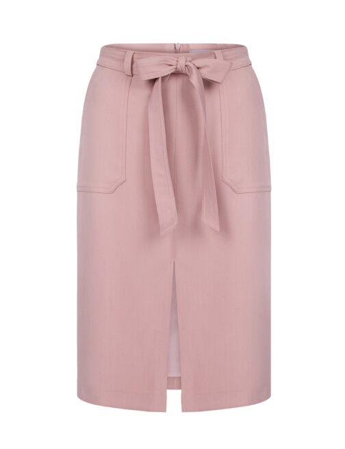 pudrowo różowa spódnica z rozcięciem
