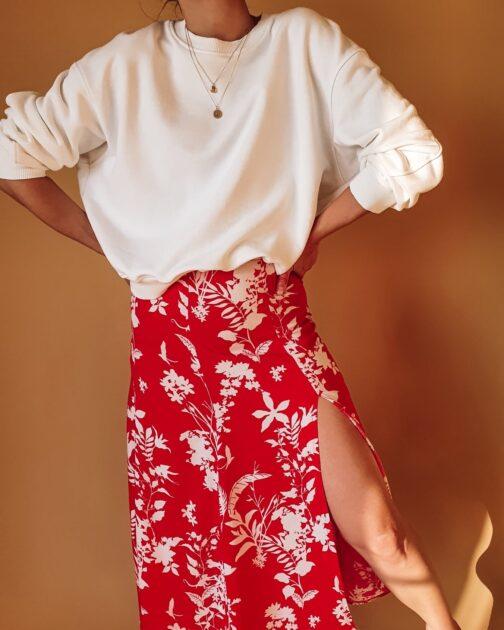 Czerwona spódnica Flower Power