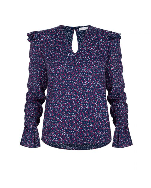 Granatowa damska bluzka w kwiatki Boho Chic