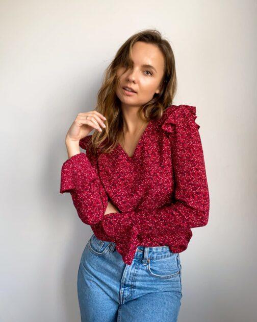 Bordowa bluzka damska w kwiatki Boho Chic